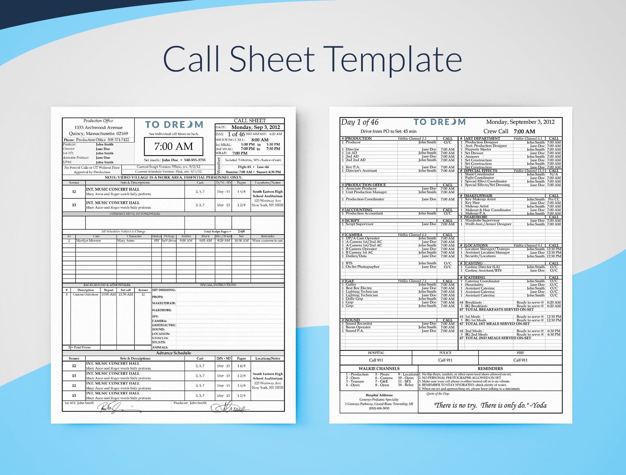 call sheet template excel free download sethero call sheet software. Black Bedroom Furniture Sets. Home Design Ideas