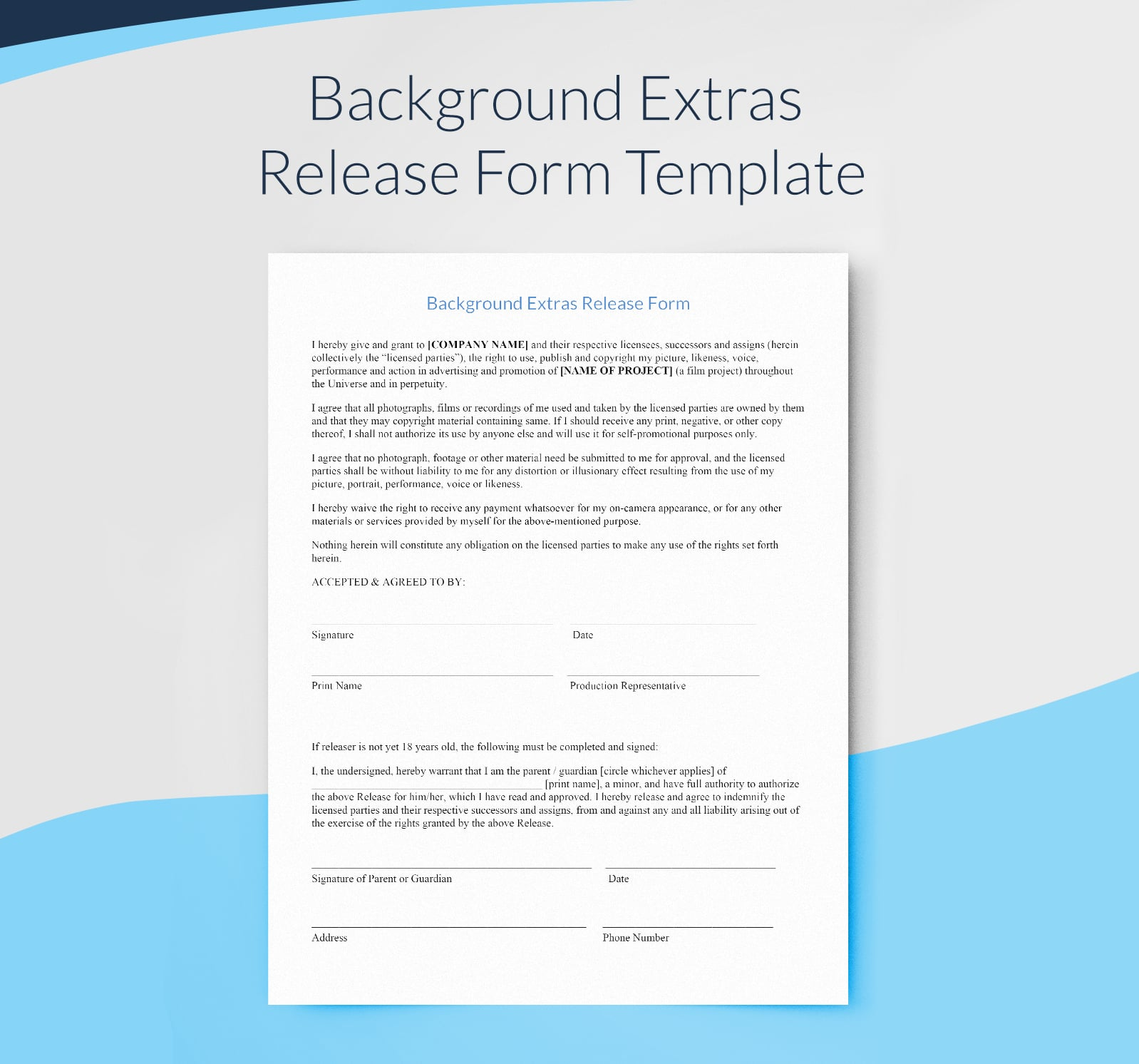 Example background extras release form template for filmmakers