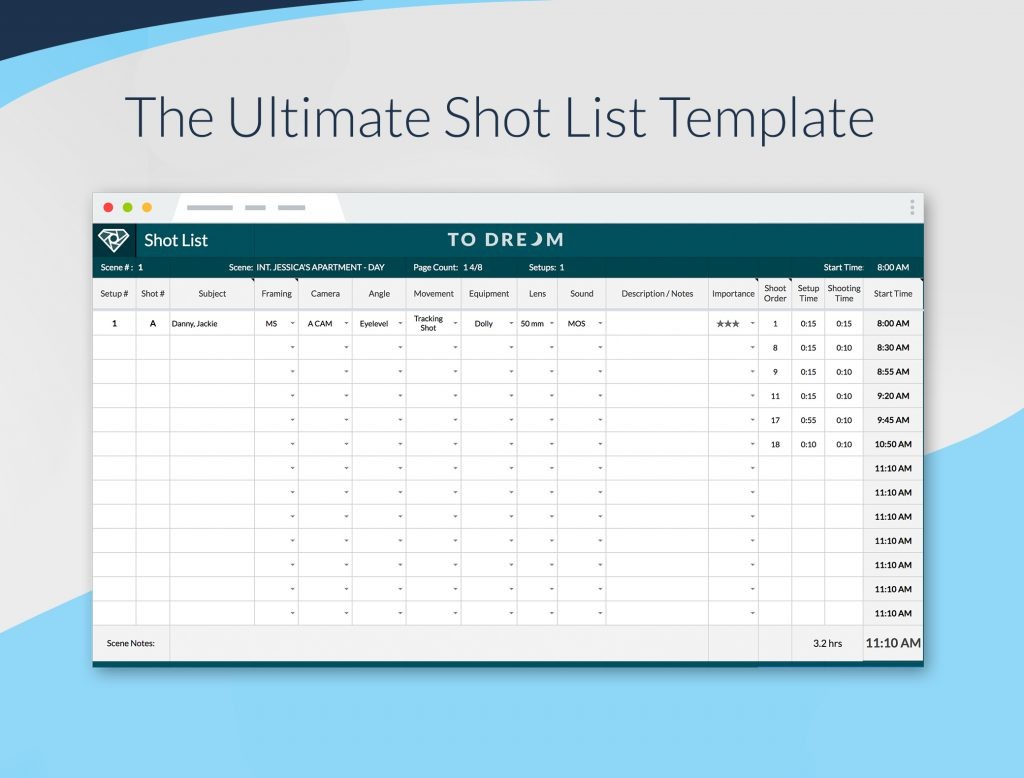 Example of this Free Ultimate Shot List Template for Filmmakers