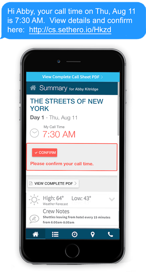 Call Sheet Publish Via Text