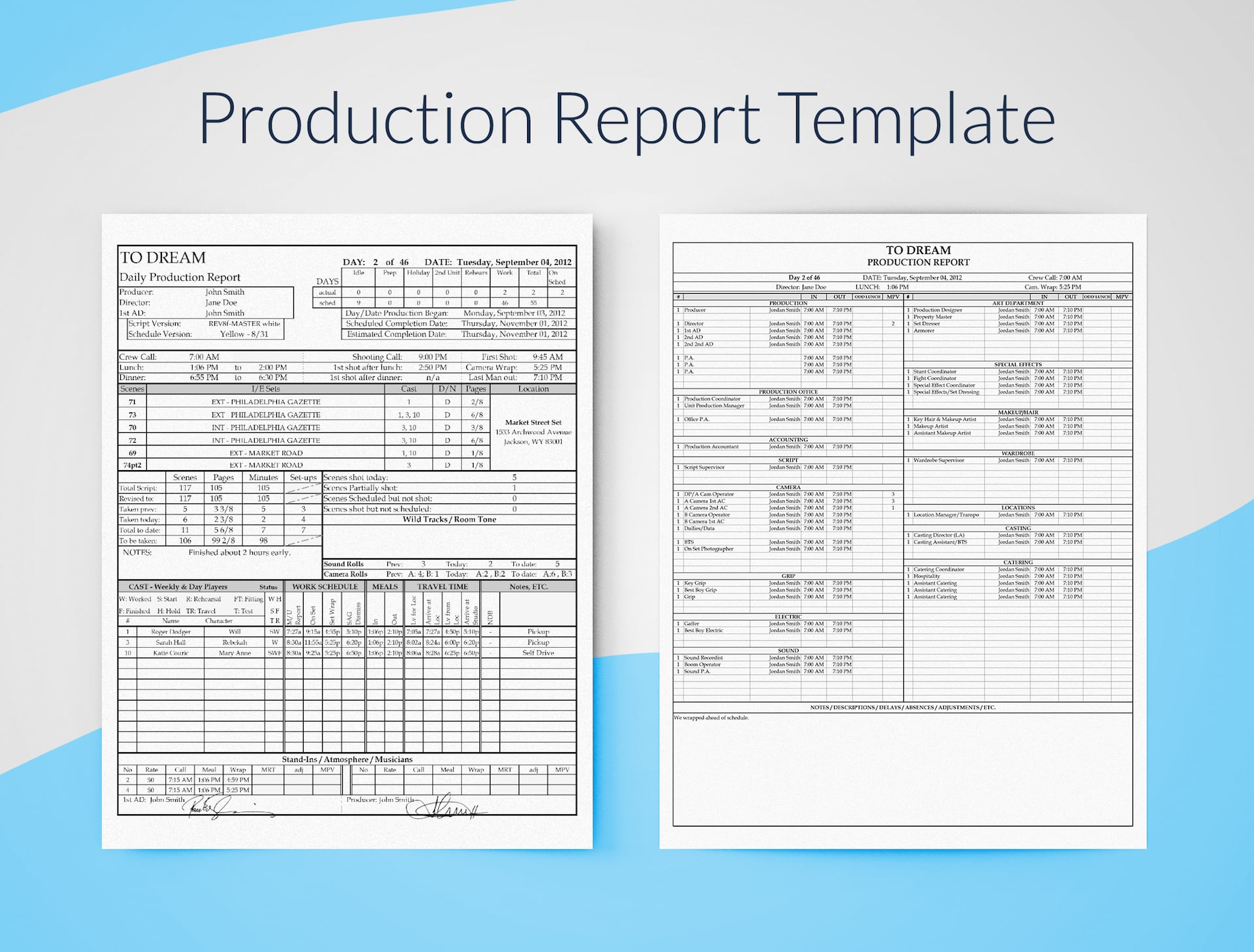 Professional Film Daily Production Report Template - Free