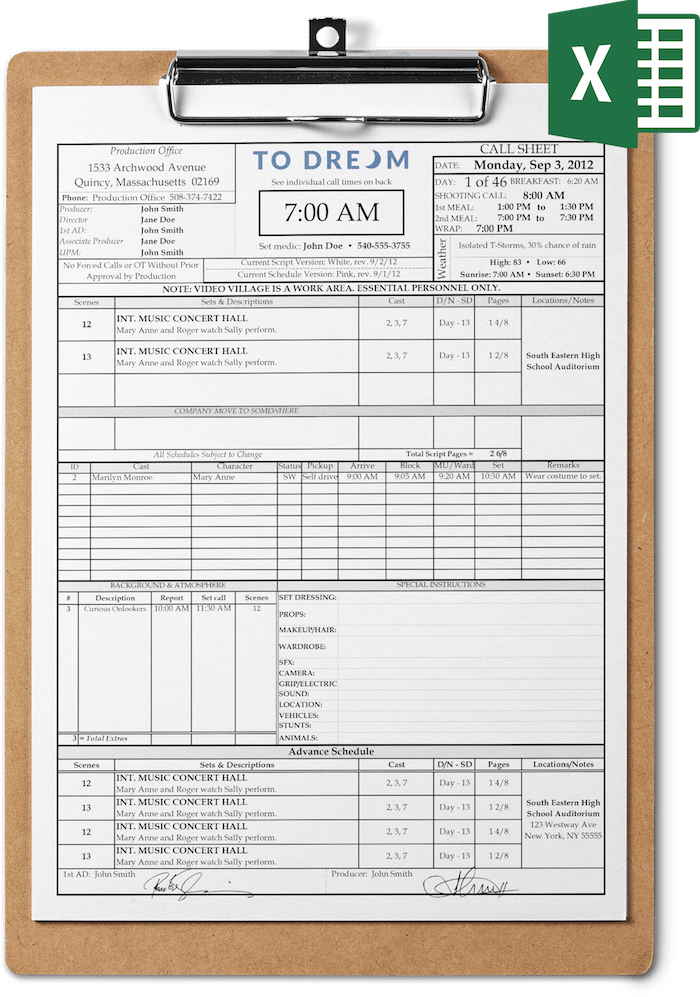 Professional Call Sheet Template