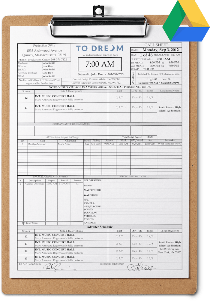 Get this free call sheet template download for Google Drive