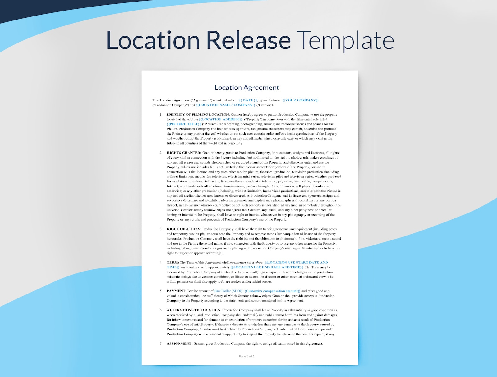 Preview of Location Release Agreement Template