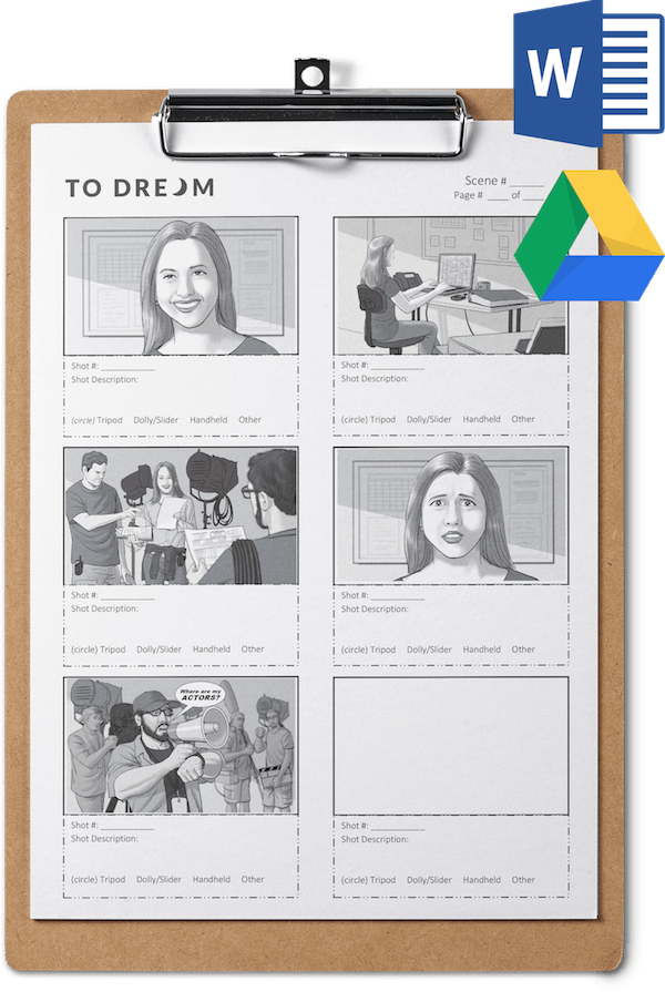 Preview of a Storyboard Template for Filmmaking - Word and Google Docs
