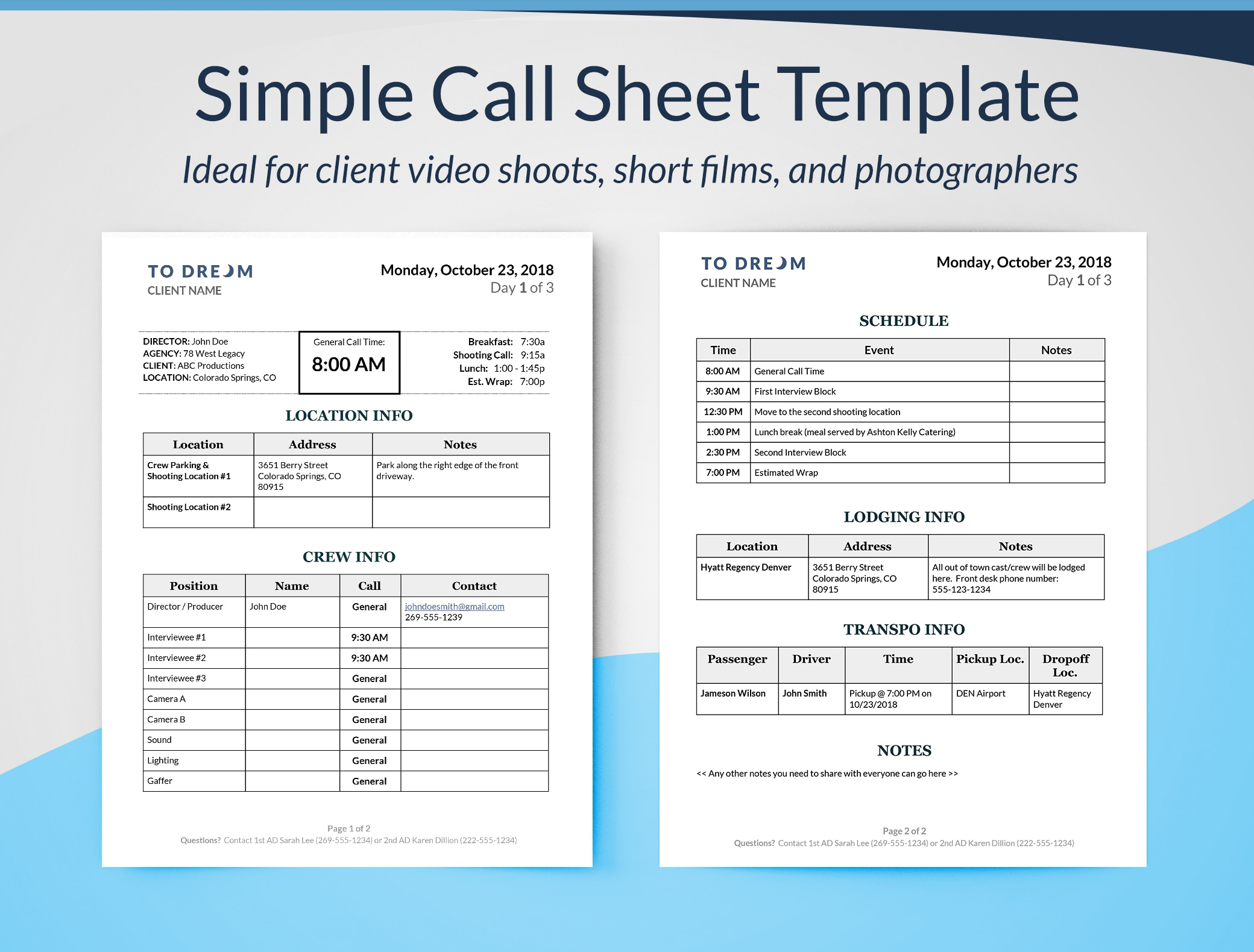 Simple call sheet word template - for client video shoots, short films, and photographers