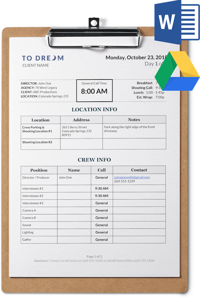 Simple Call Sheet Template Word Doc Sethero