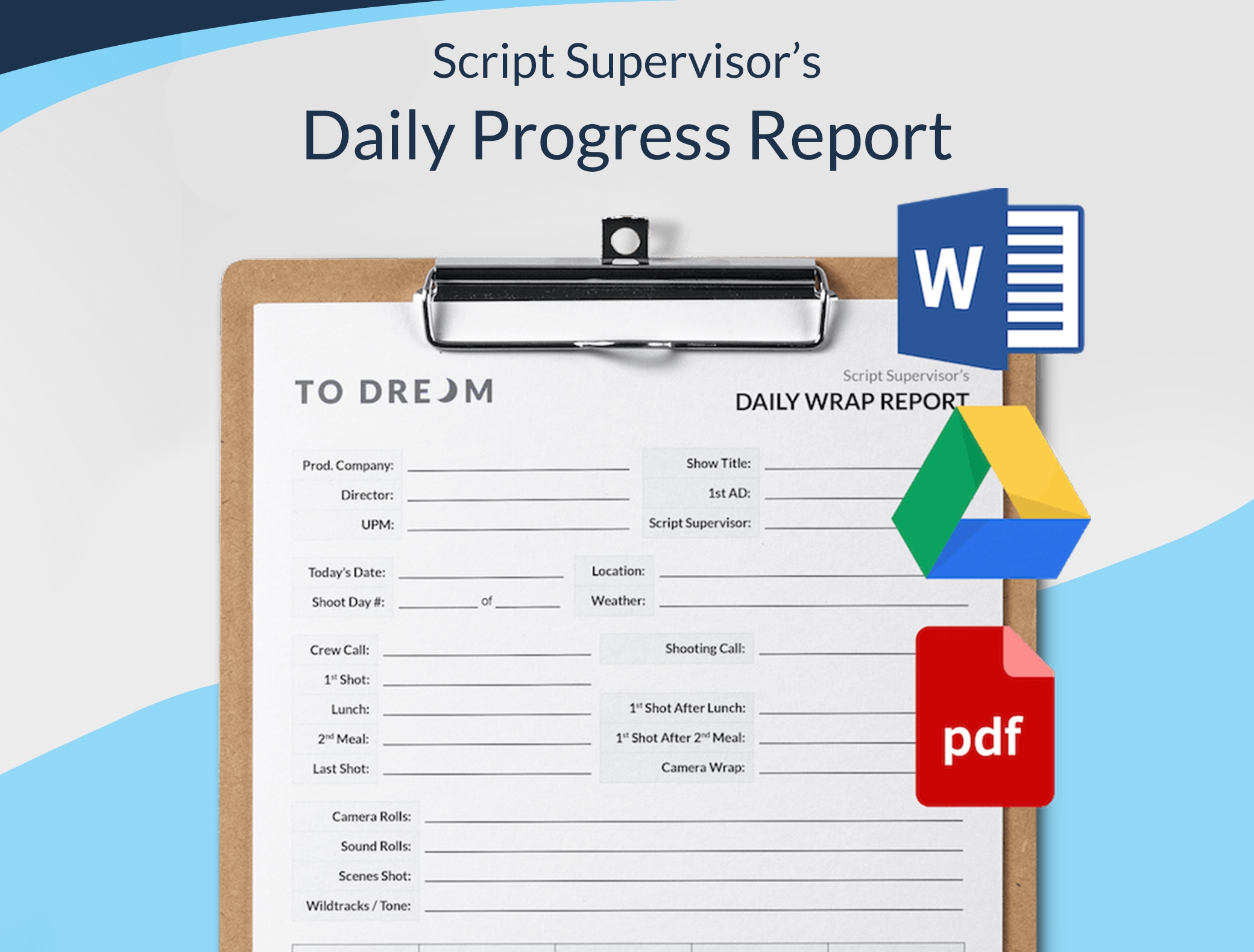 Script Supervisor Daily Progress Report - Free Template Download