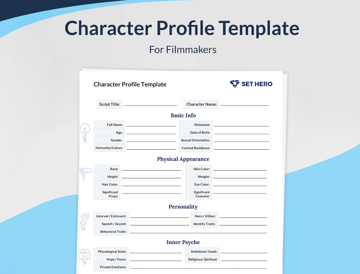 Screenplay character profile template for filmmakers