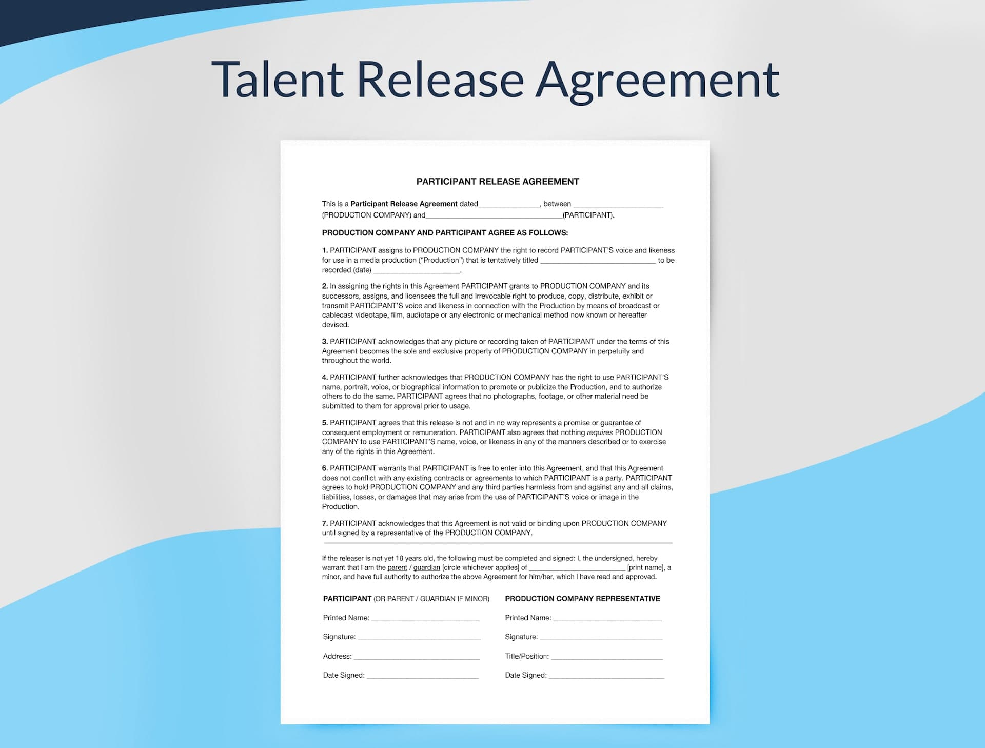 Talent Release Agreement Form For Filmmakers Example