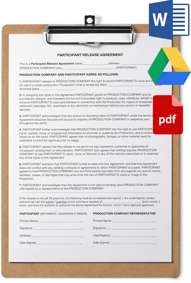 Talent Release Agreement Form For Filmmakers Template